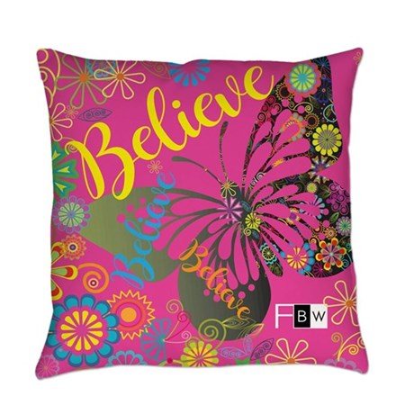 Believe Butterfly Everyday Pillow