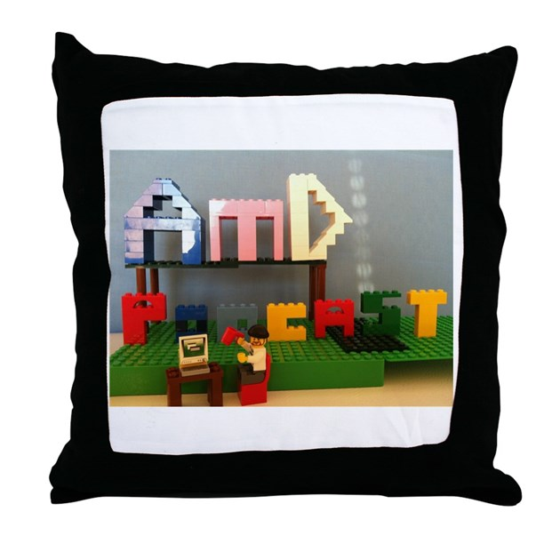 Lego Throw Pillow And Blanket Set : AMD Lego Logo Throw Pillow by AfterMovieDiner