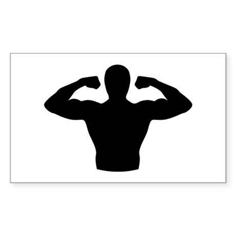 Bodybuilding muscles Sticker (Rectangle)