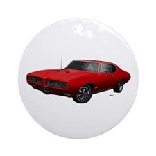 1968 GTO Solar Red Ornament (Round)