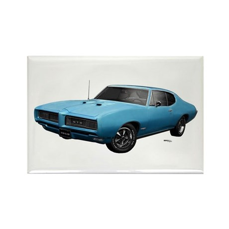 1968 GTO Meridian Turquoise Rectangle Magnet (100