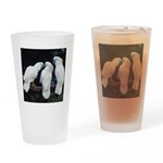 3 White Parrots Drinking Glass