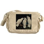 3 White Parrots Messenger Bag