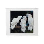 3 White Parrots Throw Blanket