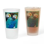 Turquoise Parrots Drinking Glass