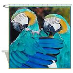Turquoise Parrots Shower Curtain