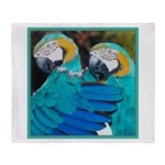 Turquoise Parrots Throw Blanket