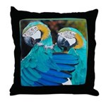 Turquoise Parrots Throw Pillow