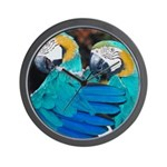 Turquoise Parrots Wall Clock