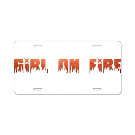 Girl on Fire Aluminum License Plate
