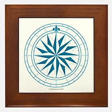 Starry Blue Compass Rose Framed Tile