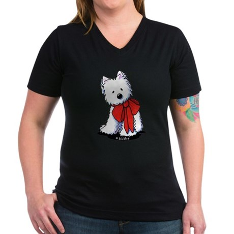 Red Ribbon Westie Women's V-Neck Dark T-Shirt