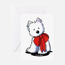 Red Ribbon Westie Greeting Cards (Pk of 20)