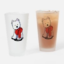 Red Ribbon Westie Drinking Glass