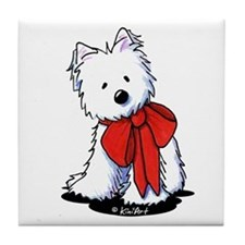 Red Ribbon Westie Tile Coaster