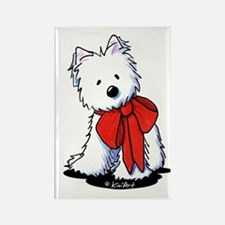 Red Ribbon Westie Rectangle Magnet