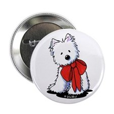 "Red Ribbon Westie 2.25"" Button"