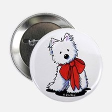 """Red Ribbon Westie 2.25"""" Button"""
