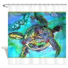 Sea Turtle, wildlife, art, Shower Curtain