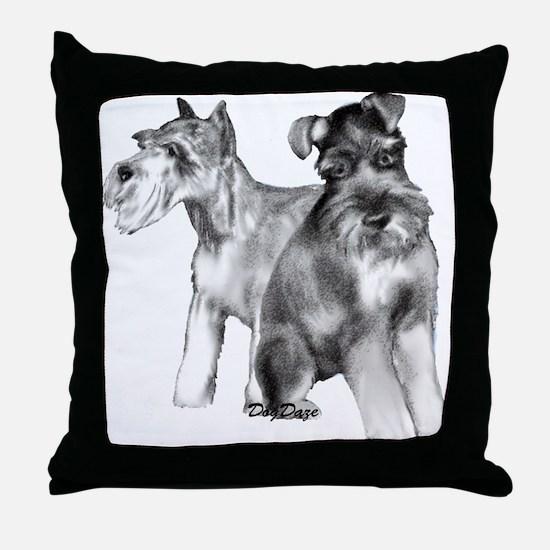 two schnauzers Throw Pillow