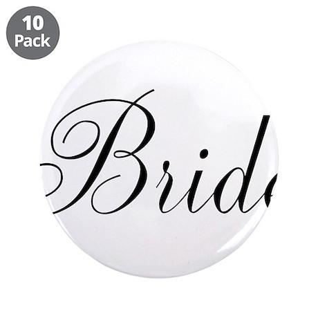 """Bride Black Script 3.5"""" Button (10 pack)"""