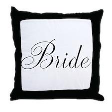 Bride Black Script Throw Pillow