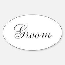 Groom Black Script Sticker (Oval)