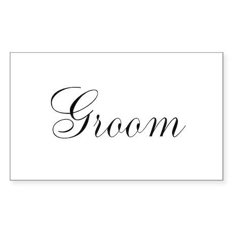 Groom Black Script Sticker (Rectangle)