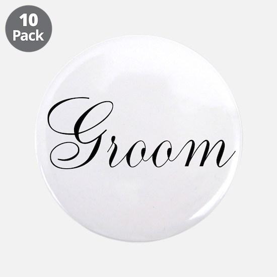 "Groom Black Script 3.5"" Button (10 pack)"
