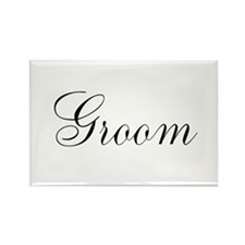 Groom Black Script Rectangle Magnet