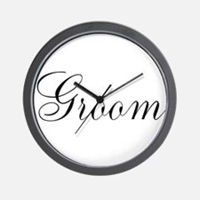 Groom Black Script Wall Clock