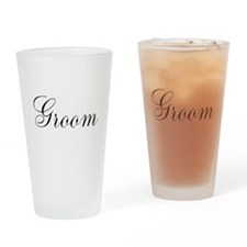 Groom Black Script Drinking Glass