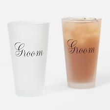 Groom Black Script Drinking Glass