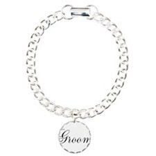 Groom Black Script Charm Bracelet, One Charm