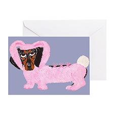 Dachshund In Fuzzy Pink Bunny Greeting Card