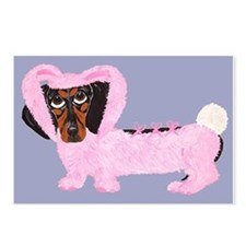 Dachshund In Fuzzy Pink Bunny Postcards (Package o