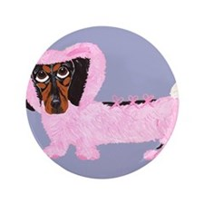 "Dachshund In Fuzzy Pink Bunny 3.5"" Button"