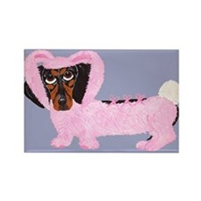 Dachshund In Fuzzy Pink Bunny Rectangle Magnet