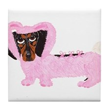 Dachshund In Fuzzy Pink Bunny Tile Coaster