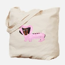 Dachshund In Fuzzy Pink Bunny Tote Bag