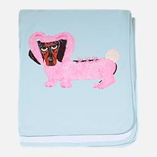 Dachshund In Fuzzy Pink Bunny baby blanket