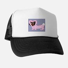 Dachshund In Fuzzy Pink Bunny Trucker Hat