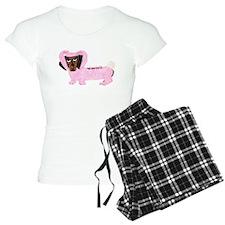 Dachshund In Fuzzy Pink Bunny Pajamas