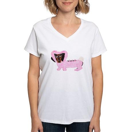 Dachshund In Fuzzy Pink Bunny Women's V-Neck T-Shi