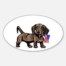 4th of July Dachshund Oval Decal