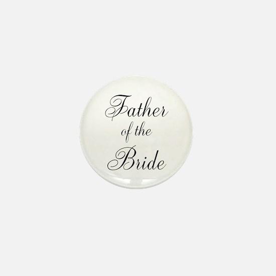 Father of the Bride Black Scr Mini Button