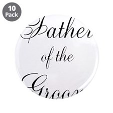 """Father of the Groom Black Scr 3.5"""" Button (10 pack"""