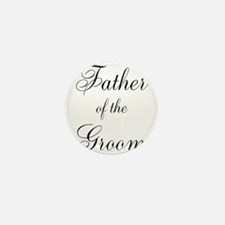 Father of the Groom Black Scr Mini Button (10 pack