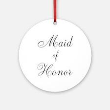 Maid of Honor Black Script Ornament (Round)
