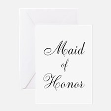 Maid of Honor Black Script Greeting Card